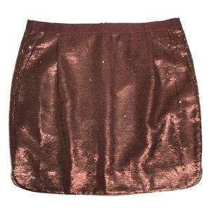 J. Crew Shirttail Mini Skirt in Bronze Sequins